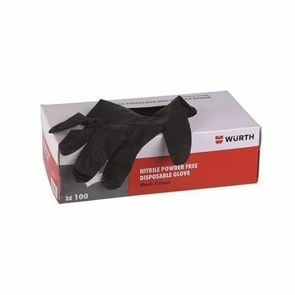 Γάντια νιτριλίου μαύρα μιας χρήσης Wurth - 100τεμ.